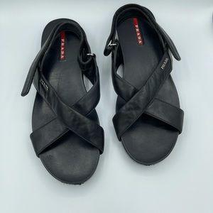 Prada sport leather crossover straps flat sandals